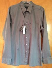 Men's DKNY Charcoal Slim Fit Button Down Dress Shirt - Chrome Large New