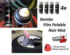 4x BOMBE PEINTURE JANTE PLASTIFIANT SPRAY PLASTI DIP NOIR MAT Tata