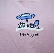 LIFE IS GOOD women's med T shirt pink beach scene New England relax tee