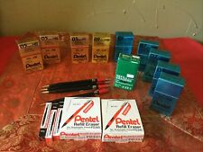 9 PENTEL Refill Lead Assorted + Refill Erasers + 4 Autopoint Pemcils