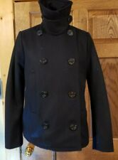 WOMEN'S GAP HEAVY JUNIOR PEACOAT JACKET BLACK SIZE M RECYCLED WOOL BLEND POCKETS