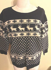 Next UK Nordic Holiday Christmas Reindeer Sweater 3/4 Sleeve  Navy US Size 10