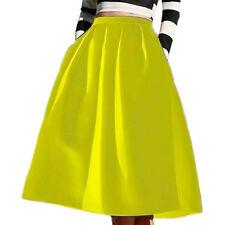 Women Lady High Waisted A line Street Skirt Skater Pleated Full Midi Skirt