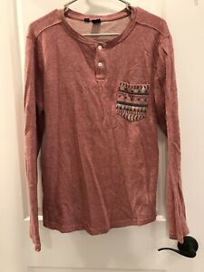 Young Mens Red Volcom  Stone Long Sleeve Shirt Size S