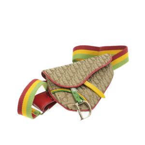 CHRISTIAN DIOR Trotter Canvas Saddle Waist Bag Pouch Rasta Color Auth kh649