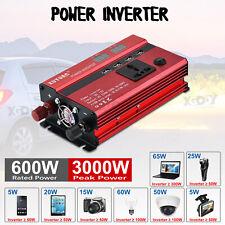 3000W Converter Power Inverter DC12V To AC220V-240V Invertor 4 USB 1 Socket Red