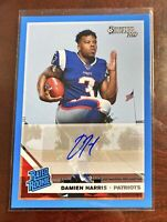DAMIEN HARRIS RC BLUE BORDER AUTO RATED ROOKIE 2019 PANINI DONRUSS CARD NO. 309