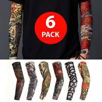 6 Pcs Unisex Mens Women Nylon Temporary Fake Full Arm Tattoo Sleeves Stockings