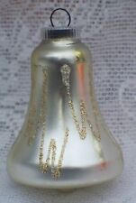 VINTAGE GERMANY GOLD & SILVER GLITTER GLASS BELL CHRISTMAS ORNAMENT 3""