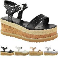 Womens Ladies Black Stud Flatform Sandals Summer High Wedge Espadrilles Shoes
