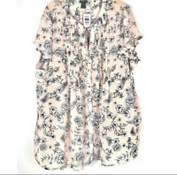 New With Tags TORRID Pink Floral Print Pleated Chiffon Tie Front Blouse Size 3x