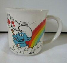 Vintage 1981 Wallace Berrie Smurf Rainbow Catching Hearts Mug Peyo