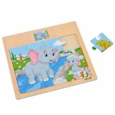 Wooden Montessori Learning Toys Educational Cartoon Animal Puzzle For Kids Math