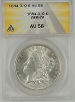 """1884-O/O $1 Morgan Silver Dollar ANACS AU58 #6109697 VAM-7A """"O/O, PITTED ED"""""""