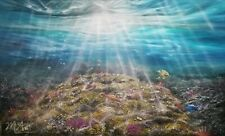 """""""aliento"""" Subacuática Sealife pintura al óleo sobre lienzo Peces Tropicales Océano 42""""x25"""
