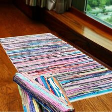 Small Extra Large Handmade Multi Colour Chindi Rug 100% Cotton Area Rag Rugs Mat