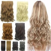 Thick Clip in Hair Extensions One Piece Full Head Wavy Straight Hairpiece New