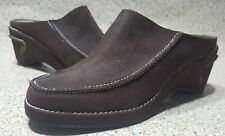 NEW AEROSOLES MULES WEDGE SLIP PN BROWN NUBUCK WOMEN'S SHOES SIZE 8 M