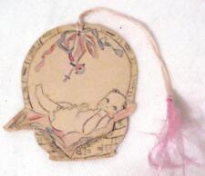 Vintage Handmade Baby in a Basket Bridge Tally Card Score Card