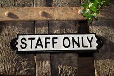 Vintage Türschild Staff Only, Gusseisen, keinen Zutritt, Mitarbeiterzugang