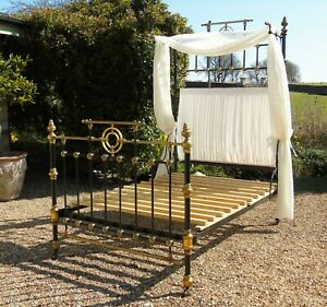 Good Victorian Cast & Brass Half Tester Double Bed