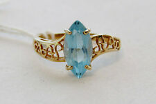 14K Yellow Gold Plumb 2 ct tw Marquise Blue Topaz Vintage Solitaire Ring Size 7
