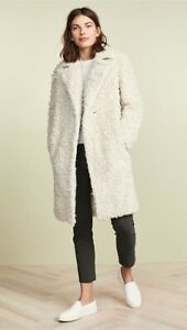 Vince $695 Shaggy Faux Sherling Long Coat Size Small Cream
