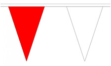 Red & White 20M Triangle Flag Bunting - Large 54 Flags - Triangular