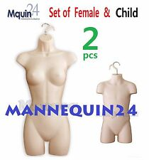 2 MANNEQUIN SET - FEMALE & CHILD BODY FORMS *FLESH* +HANGING HOOKS WOMAN KIDS