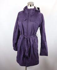 LL Bean Womens Medium Full Zip Windbreaker Hooded Parka Jacket Purple Nylon