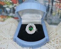 Vintage Jewellery Gold Ring Emerald White Sapphires Antique Deco Jewelry P 8