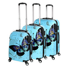 Hard Shell 4 Wheel Suitcase PC Luggage Trolley Case Cabin Hand Butterfly - Blue