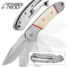 "Timber Wolf ""Cloudscape"" Assisted Opening Bone Handle Folder Pocket Knife"