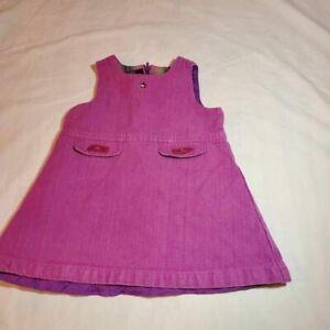 Tommy Hilfiger Baby Girls A-Line Dress Purple Sleeveless 100% Cotton 12-18 Mos