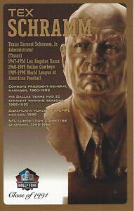 Tex Schramm Dallas Cowboys  Football Hall of Fame Bust Card