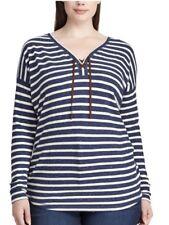 Chaps Ralph Lauren Women Plus Size 2X River Path Blue Striped Pullover NWT $56
