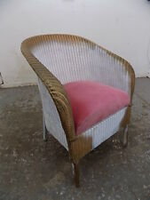 1950's,gold,white,small,vintage,wicker,arm chair,bathroom,bedroom,chair,