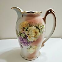 VINTAGE PRINCE REGENT BAVARIA PITCHER WITH HAND PAINTED YELLOW ROSES & VIOLETS