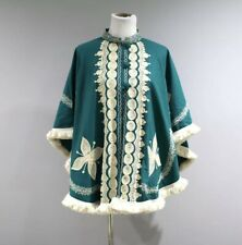 Vintage Wool Cape Poncho Womens One Size Embroidery Fringe Butterflies