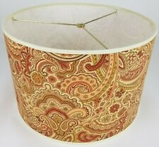 "NEW Drum Lamp Shade 15"" Dia 10"" H Transitional Paisley Cinnamon Fabric"