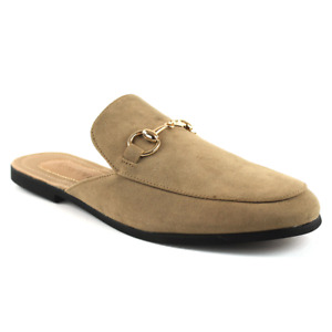Mens Tan Suede Backless Slip On Mule With Gold Buckle Loafers By AZAR MAN