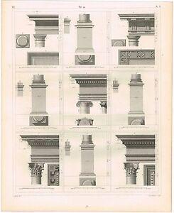 ORIGINAL VINTAGE ANTIQUE PRINT 1851 ENGRAVING ARCHITECTURE CAPITALS & BASES