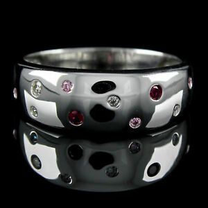 Round Simulated Multi Stone Scatter Band Ring In 14k White Gold Over Silver 925