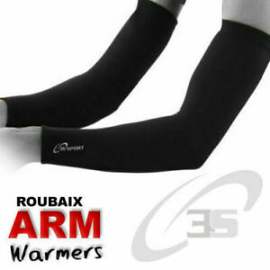 Cycling Arm/Elbow Warmer Thermal Roubaix Winter Running Cycle Warmers All Black