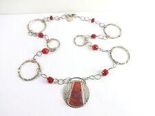 "NECKLACE Pendant Sterling Silver Vintage 925 Red Laguna Beach Gems 19"" 24g"
