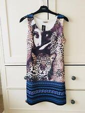 Short Mini Tight Bodycon Leopard Print Blue Pink Stripe Striped Dress Size 8