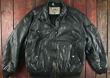 VTG 80s REDSKINS TYPE B32 BLACK LEATHER FLIGHT BOMBER JACKET MOTORCYCLE SHORT 46
