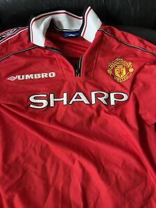 Genuine Manchester United 1999 Sharp Vintage Treble Winners Shirt Size L