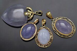 Lot of 4 14K Yellow Gold Lavender Jade Oval Greek Key & Heart Pendants 16.0Grams