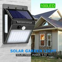 100LED Solar Pared Lámparas Sensor Movimiento Impermeable Exterior Seguridad Luz